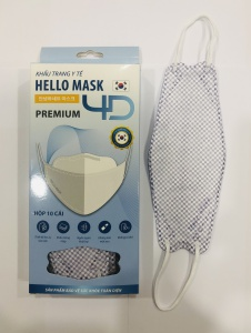 Khẩu Trang Cao Cấp 4D Hello Mask ( Caro Tím)